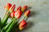 Fototapeta Tulipany - Fresh red tulips. A bouquet of spring flowers on an old painted blue background © Юрий Кузнецов