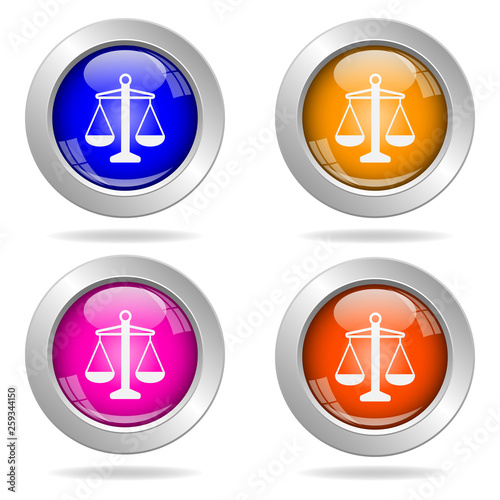 Set of round color icons. Justice icon. © STANISLAV