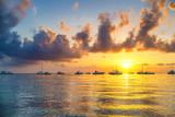 Beautiful cloudy sunrise over ocean in Dominican Republic