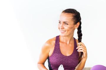 Young beautiful sport woman training doing yoga © olga pink