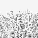 Spring magic. Seamless border. Vector vintage illustration. Black and white