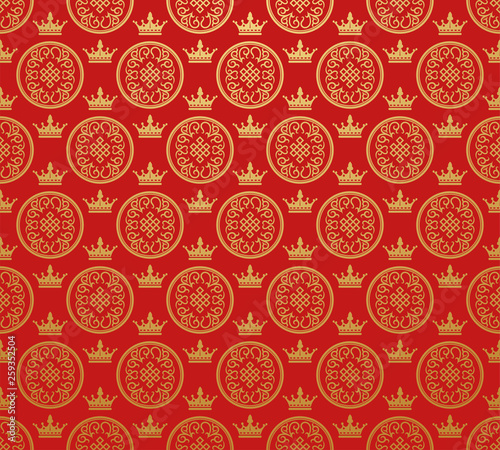 Red background wallpaper in Chinese Japanese style for your design © PETR BABKIN