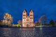 Leinwandbild Motiv Facade of Limburg Cathedral (Dom zu Limburg) at dusk, Limburg an der Lahn, Germany