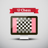 Chess - Strategy Game on Computer Screen Vector Design