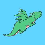Fototapeta Dinusie - Cute Dragon drawn in doodle style © Rebellion Works