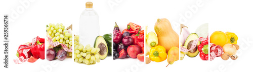 Collage made from fruits and vegetables, isolated