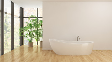 Modern bright bathroom interiors 3D rendering illustration