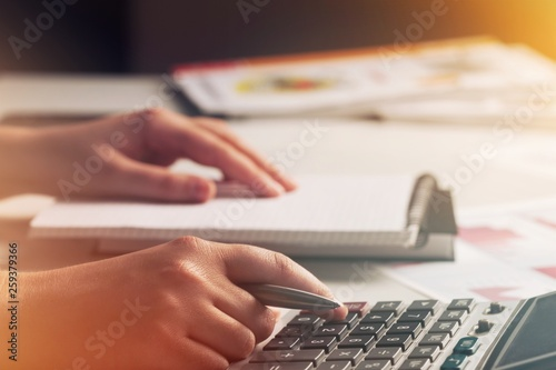 Leinwandbild Motiv Payroll processing taxation accounting administrative analysis analytics