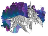 Fototapeta Fototapety z końmi - The head of the unicorn. A horse with a long mane. Meditative coloring, doodling drawing. Drawing by hand. Coloring for children. © RantGoil