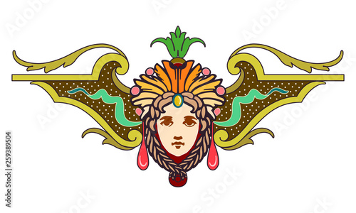 Clipart of Coral, red, teal and brown Design Ornament with face