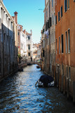 Italy beauty, boats and typical canal street in Venice, Venezia. vintage capture