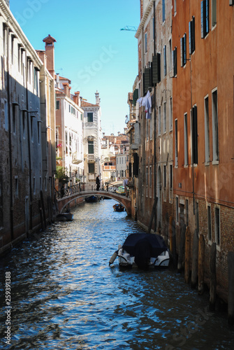 Italy beauty, boats and typical canal street in Venice, Venezia. vintage capture © nataliya_ua