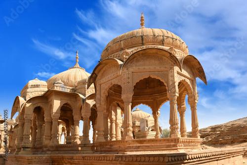 ancient royal cenotaphs and archaeological ruins at Jaisalmer Bada Bagh Rajasthan, India