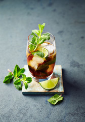 Cuba Libre in a Glass ( rum with cola, lime, mint leaves and ice)
