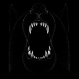 The Vector logo wolf  or wolf for tattoo or T-shirt design or outwear.  Cute print style wolfs or dogs  background.