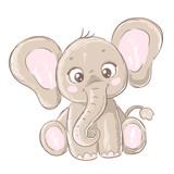 Słodkie dziecko słonia. Ręcznie rysowane ilustracji wektorowych.