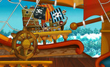 cartoon scene with pirate ship sailing through the sea -scene of the deck - illustration for children