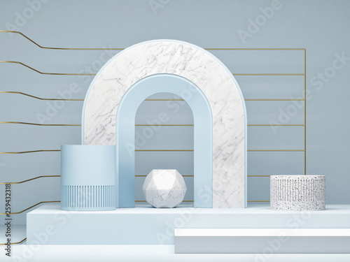 Leinwandbild Motiv Mock up podium, abstract background, copy space, 3d illustration, 3d render