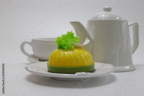 Orange Mousse Cake on White Plate © foreverhappy