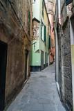 Narrow street in old city. Genoa. Italy