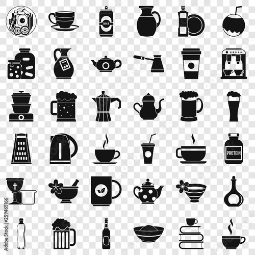 Crockery icons set. Simple style of 36 crockery vector icons for web for any design - 259465166