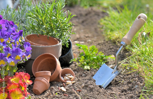 trowel planting in the dirt next to flowerpots in a garden © coco