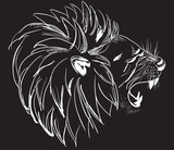 lion head sketch isolated on black