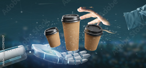 Cyborg holding a Group of cardbox coffee cup with connection 3d rendering