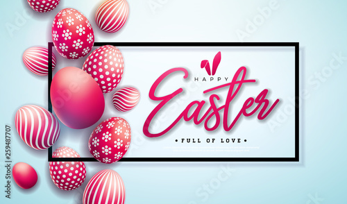 Vector Illustration of Happy Easter Holiday with Red Painted Egg on Light Background. International Celebration Design with Typography for Greeting Card, Party Invitation or Promo Banner. - 259487707