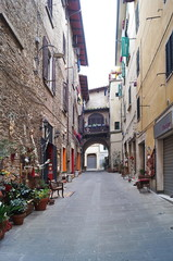 Typical street in the center of Poggibonsi, Tuscany, Italy