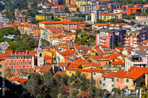 Panoramic landscape with sea coast in golf of Poeti with boats, roofs and old buildings in Lerici, La Spezia Liguria, Italy - 259497578