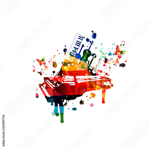 Colorful music instruments with music notes isolated vector illustration design.  Piano, guitar, violoncello, saxophone, trumpet and microphone music festival poster, live concert events, party flyer © abstract