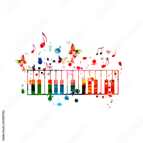 Colorful piano keys with music notes isolated vector illustration design. Music background. Piano keyboard poster with music notes, festival poster, live concert events, party flyer © abstract