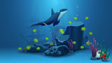 Underwater world, vector illustration with yellow fish, rock, starfish, pearl and killer whale