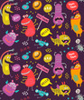 Cute Monsters seamless pattern - 259510997