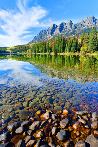 Panorama Reflection of Mount Fitzwilliam on Yellowhead Lake in the Canadian Rockies, British Columbia, Canada © john9595