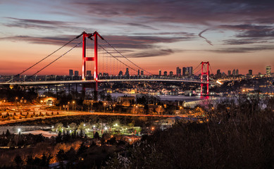 Lovely Bosphorus Bridge İstanbul Night Panoramic Photo. Istanbul, Turkey