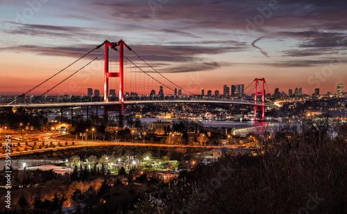 Lovely Bosphorus Bridge İstanbul Night Panoramic Photo. Istanbul, Turkey