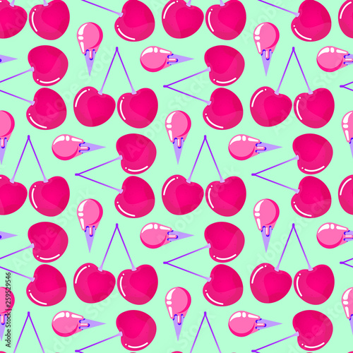 pattern with cherries and ice cream - 259529546