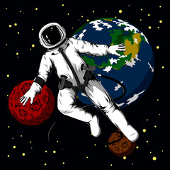 Astronaut in outer space. Color vector image of the astronaut and the planets.