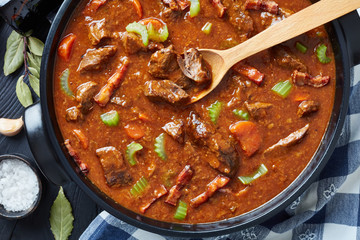 irish beef and beer stew in a pot