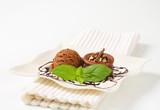 Mini chocolate hazelnut cake with ice cream