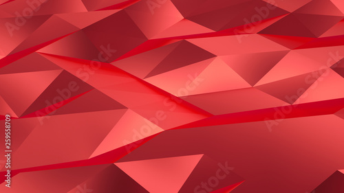 Red background filled with triangular fractures. 3D rendering. - 259558709