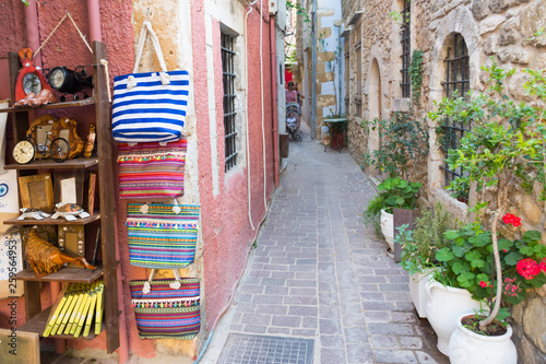 Chania. Crete. The narrow streets in the old town.