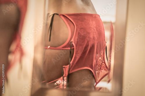 women's detail with sexy red underwear by valentine's day - 259570119