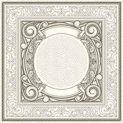 Vintage decorative ornate monochrome design