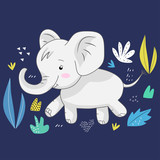 Cute elephant on a blue background surrounded by tropical leaves. Vector design.