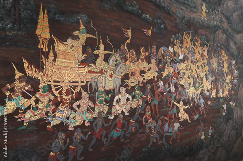 The Ramakien (Ramayana) mural paintings along the galleries of the Temple of the Emerald Buddha, grand palace or wat phra kaew Bangkok Thailand - 259601994