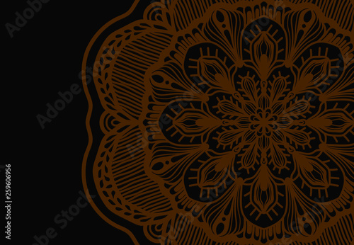 Abstract mandala graphic design and watercolor digital art painting for ancient geometric concept background - 259606956