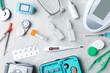 Leinwandbild Motiv Flat lay composition with medical objects on grey background